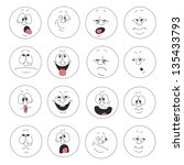vector. emotion smiles set 003 | Shutterstock .eps vector #135433793