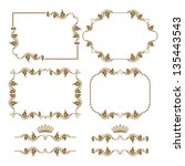 vector set of decorative... | Shutterstock .eps vector #135443543