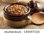 homemade barbecue baked beans... | Shutterstock . vector #135457133