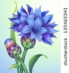 creative illustration of blue cornflower with green leaves isolated - stock photo