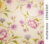 vintage fantasy peony spring flowers and leaves background pattern - stock photo