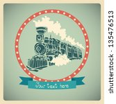 Postcard with old-fashioned train. - stock vector