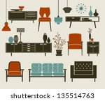 retro furniture and home... | Shutterstock .eps vector #135514763