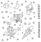 coloring book with spaceships... | Shutterstock .eps vector #135515537