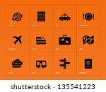 travel icons on orange... | Shutterstock .eps vector #135541223