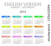 Colorful sunday to saturday 2014 calendar with crayons english version illustration - stock photo