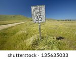 old speed sign reads speed... | Shutterstock . vector #135635033
