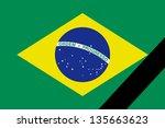 the brazilian flag in mourning... | Shutterstock . vector #135663623