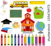 vector collection of school... | Shutterstock .eps vector #135676973