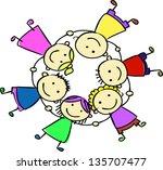happy kids holding hand | Shutterstock . vector #135707477