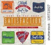 vector retro surf label set. | Shutterstock .eps vector #135722027