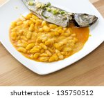 "White Beans with Palma Oil and ""Carap�¡u"" Fish - stock photo"