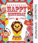 happy birthday card circus... | Shutterstock .eps vector #135790793