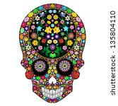 Skull Flowers Ornamental Art Design - stock photo