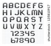 black origami alphabet letters... | Shutterstock .eps vector #135810917