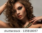 beautiful caucasian woman with... | Shutterstock . vector #135818057