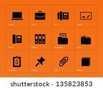 office icons on orange... | Shutterstock .eps vector #135823853