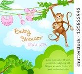 Vector Illustration Of Monkey...