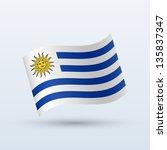 uruguay flag waving form on...