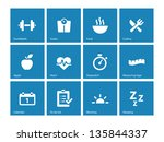 fitness icons on blue... | Shutterstock .eps vector #135844337