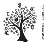 silhouette of a money tree... | Shutterstock .eps vector #135852413