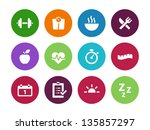 fitness circle icons on white... | Shutterstock .eps vector #135857297