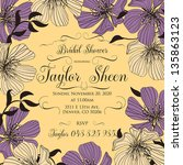invitation or wedding card with ... | Shutterstock .eps vector #135863123