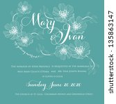invitation or wedding card with ... | Shutterstock .eps vector #135863147