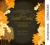 invitation or wedding card with ... | Shutterstock .eps vector #135863183