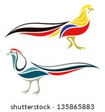 Stylized Ruffed Pheasants - Golden Pheasant and Lady Amherst's Pheasant - stock vector