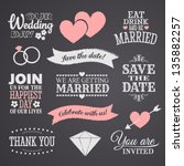 Chalkboard style wedding design elements. | Shutterstock vector #135882257
