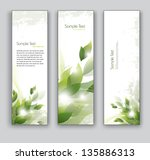 vector banners. set of three.... | Shutterstock .eps vector #135886313