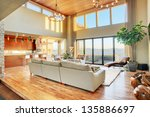 beautiful living room in luxury ... | Shutterstock . vector #135886697