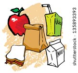 kids drawings of school lunch... | Shutterstock .eps vector #135893393