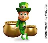 leprechaun with golden coins in ... | Shutterstock . vector #135907313