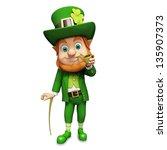 leprechaun for st patricks day   Shutterstock . vector #135907373
