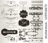 vector set of calligraphic... | Shutterstock .eps vector #135910673