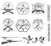 Set of vintage hunting and fishing labels and design elements - stock vector