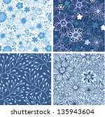 Set of four colorful floral patterns .Seamless pattern can be used for wallpaper, pattern fills, web page background,surface textures. Floral seamless backgrounds. - stock vector
