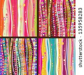 Set of four Colourful line background.Strips background can be used for wallpaper, web page background,surface textures and so on - stock vector