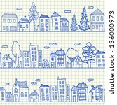 houses doodles on school... | Shutterstock .eps vector #136000973