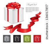 gift box with ribbon and bow.... | Shutterstock .eps vector #136017857
