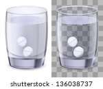 glass of water and pills.... | Shutterstock .eps vector #136038737
