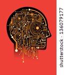 circuit abstract human head... | Shutterstock .eps vector #136079177