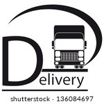 icon with delivery symbol - truck and place for text  - stock vector