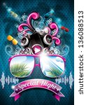 vector summer beach party flyer ... | Shutterstock .eps vector #136088513