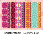 Seamless colorful aztec carpet with birds, and arrow - stock vector