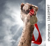 hand holding a winner's medal ... | Shutterstock . vector #136109597