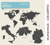 vector basics  maps 1  ... | Shutterstock .eps vector #136168943