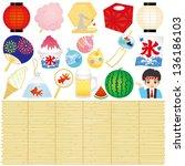 set of japanese summer festival ... | Shutterstock .eps vector #136186103